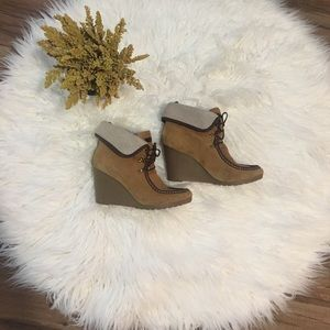 Tommy Hilfiger Shoes - Tommy Hilfiger Zaria Tan Suede Leather Wedge Boots